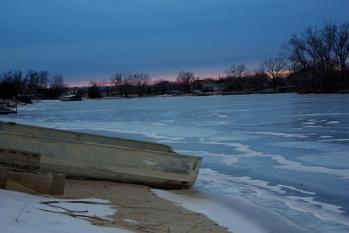 Frozen lake in Cedar Creek, Neb.