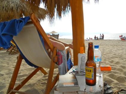 book, beer, beach.